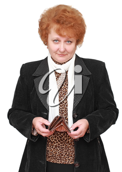Senior lady with empty wallet  . Isolated over white