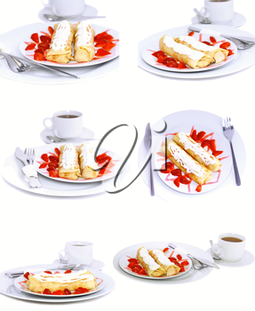 Collection-pancakes with rolled fruit inside and strawberry around. Isolated