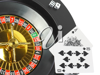 Spin casino roulette, dice and playing cards. Isolated over white