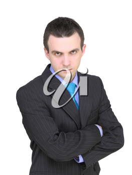 Caucasian businessman with crossed arms. Isolated over white