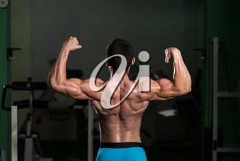 Body Builder Performing Rear Double Biceps Poses