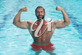Portrait Of A Young Wet Sexy Muscular Man Standing In Swimming Pool