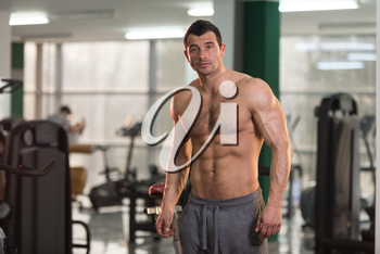 Hairy Healthy Young Man Standing Strong In The Gym And Flexing Muscles - Muscular Athletic Bodybuilder Fitness Model Posing After Exercises