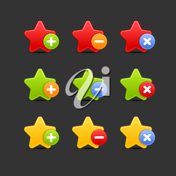 Royalty Free Clipart Image of a Bunch of Star Icons