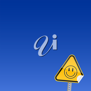 Royalty Free Clipart Image of a Smiley Face Sign