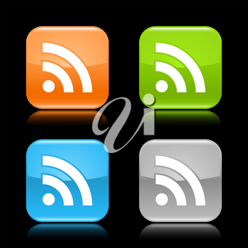 Royalty Free Clipart Image of a Set of RSS Icons