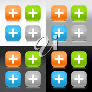 Royalty Free Clipart Image of a Set of Plus Icons