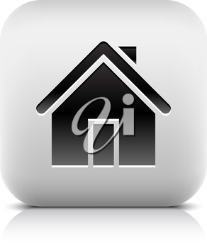 Home sign web icon. Series of buttons in a stone style. White rounded square shape with black shadow and gray reflection on white background