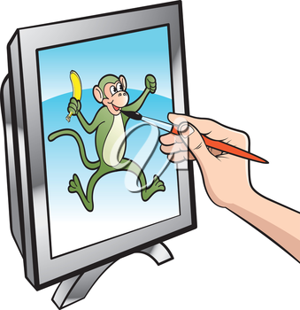 Royalty Free Clipart Image of a Person Drawing