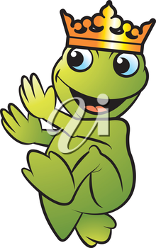 Royalty Free Clipart Image of a Frog with a Crown