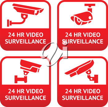 Set stickers for security alarm cctv, camera surveillance