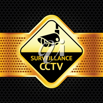 Cctv symbol on a metallic perforated background,  vector illustration