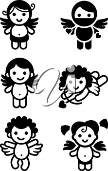 Cupids set, collection angels icons. Design element