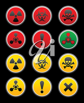 symbols of hazard, black background