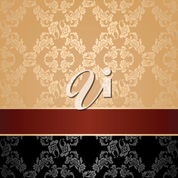 Seamless pattern, floral decorative background, maroon ribbon