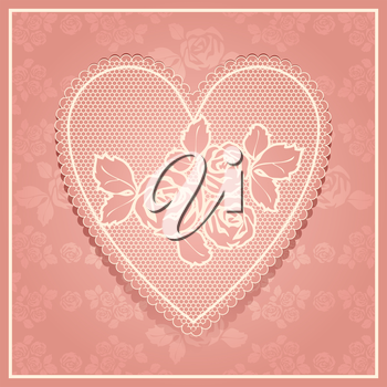Pink lace in heart shape. Vector illustration 10eps