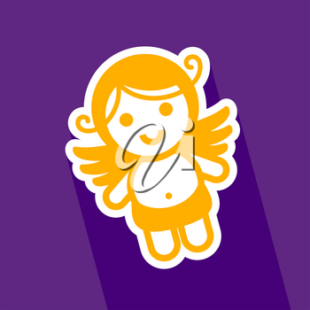 Colored sticker angel on violet background, vector illustration