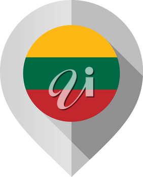 Marker with flag for map, vector illustration on white background