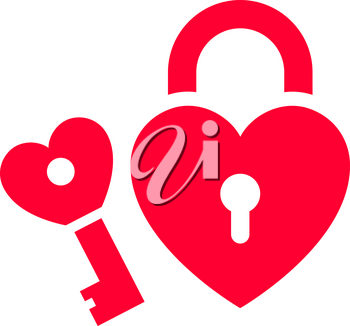 Love icon or Valentine's day sign designed for celebration. Red symbol isolated on white background, flat style.