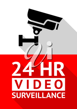 Video surveillance sticker, vector illustration for print