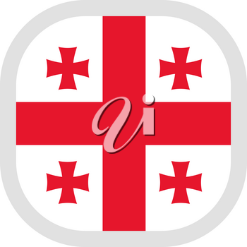 Flag of Georgia. Rounded square icon on white background, vector illustration.