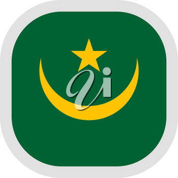 Flag of Mauritania until 2017. Rounded square icon on white background, vector illustration.