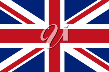 Flag of United kingdom. Rectangular shape icon on white background, vector illustration.