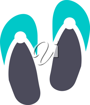 Flip flops, gray turquoise icon on a white background