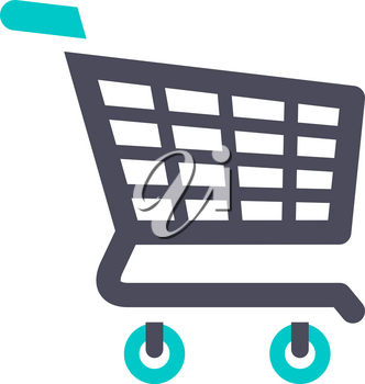 shopping cart, gray turquoise icon on a white background