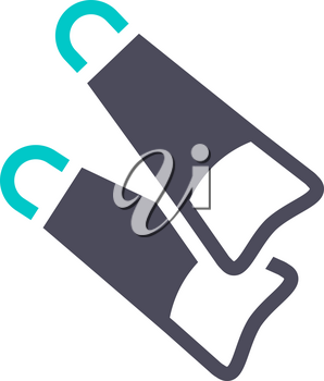 Flippers for diving, gray turquoise icon on a white background