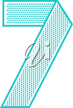 Trendy font folded from the perforated sheet. Flat alphabet, blue vector number seven on a white background.