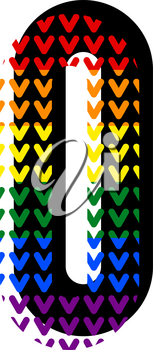 Creative bright font, alphabet in style of pop art, vector letter O high detail with LGBT pattern.