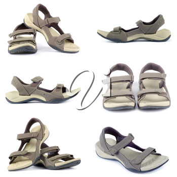 sandals collection over white background