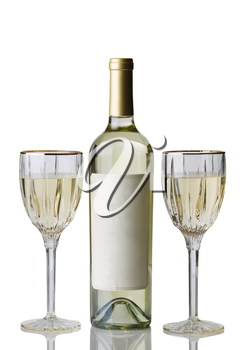 Vertical image of an unopened bottle of white wine, with drinking glasses, isolated over white background with reflection