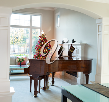 Living room entrance with grand piano, decorated Christmas tree and large daylight window in background