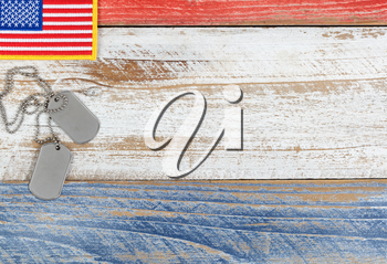 Red, white and blue American flag with ID tags for Memorial Day or Veteran Day background