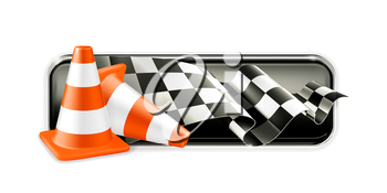 Racing banner with traffic cones