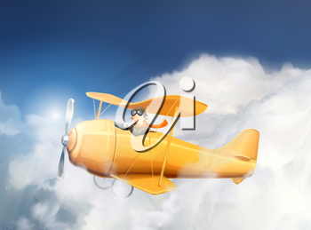 Aircraft in the clouds, vector illustration