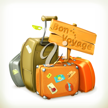 Bon voyage, travel icon, vector illustration