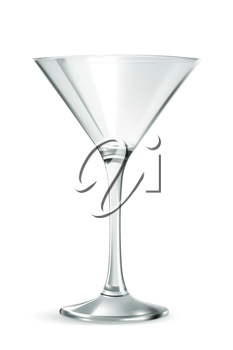Classic martini glass, bar ware, necessary accessories for parties, hilarity symbol, stylish vector illustration