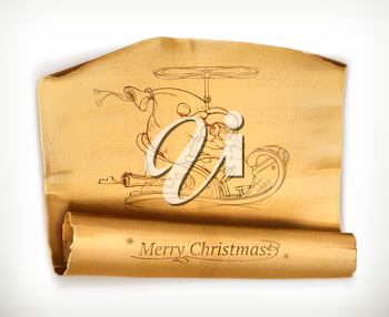 Merry Christmas old scroll, vector illustration