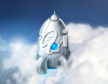 Rocket in the clouds, vector illustration