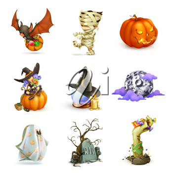 Happy Halloween set of vector icons
