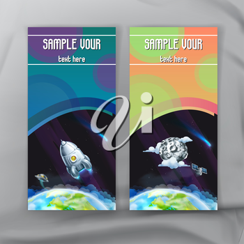 Set of space flyers, brochure template, vector design