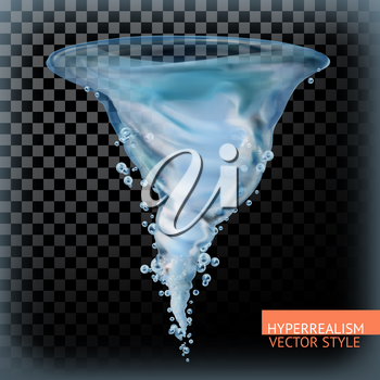 Water tornado with transparency, hyperrealism vector style