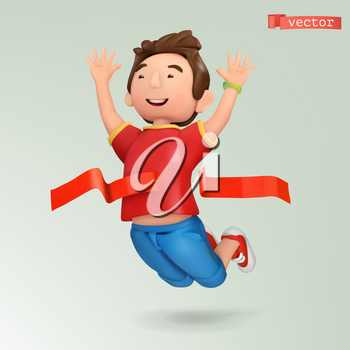 Winner at the finish line. Champion with a red ribbon at sport competitions. People and sports theme, 3d vector icon