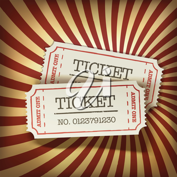 Cinema tickets on retro rays background, vector.