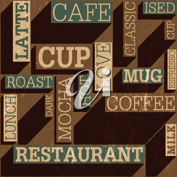 Coffee themed seamless retro background, vector