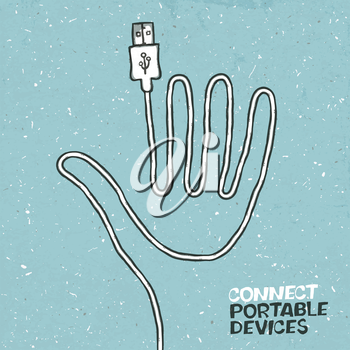 Connect portable devices concept illustration. Vector, EPS10