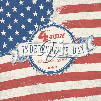 Independence day retro styled label on stars and stripes background. Vector, EPS10